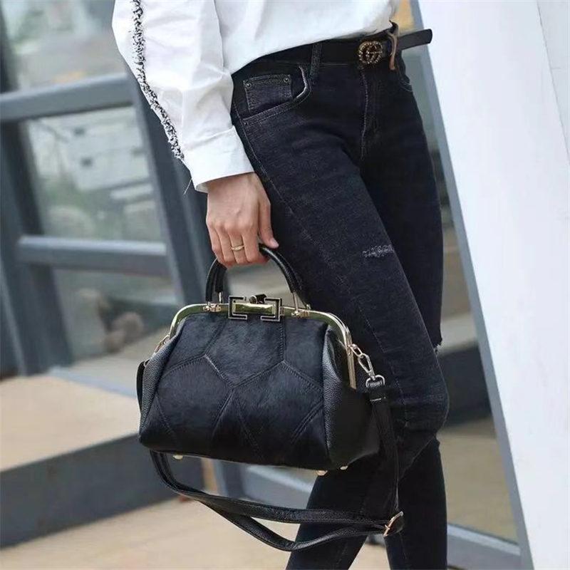Fashion Brand Leather Fur Soft Real Leather Women Handbag Two Pieces Female Shoulder Bag Girls Messenger Bag Casual Women Bag