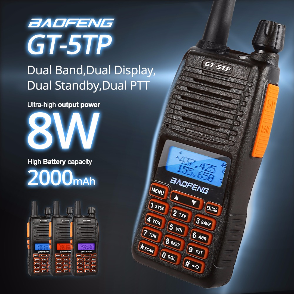 Baofeng GT-5TP Tri-Power 1/4 / 8W Dual Band VHF / UHF 136-174 / 400-520MHz Radio a due vie Ham Walkie Talkie Double PTT Design GT-5