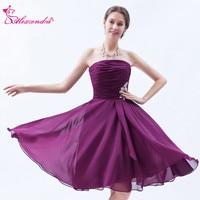 Alexzendra Chiffon Mini Strapless Purple Prom Dresses 2018 A Line Simple Party Dress Plus Size