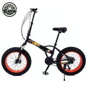 Image 2 - Bicicletas dobráveis para homens e mulheres bicicletas de neve portátil bicicleta mudando absorção de choque pequena roda 20 polegada mountain bike