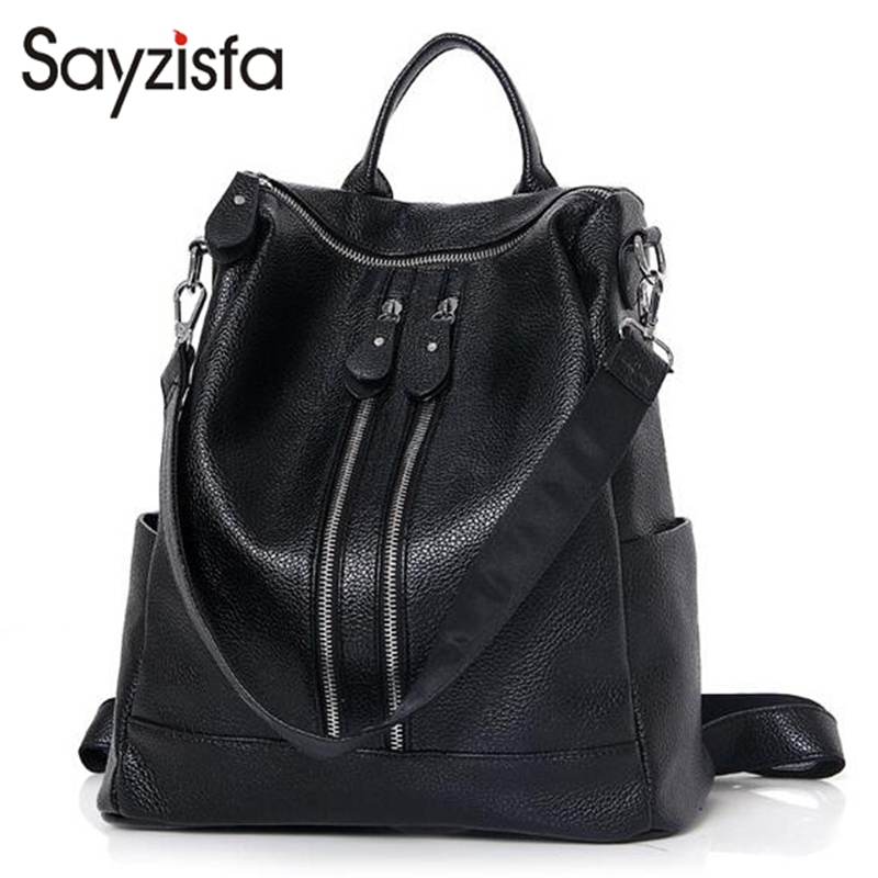 Sayzisfa Women Backpack PU Leather Mochila Girls Preppy style bagpack Bag For Teenagers Shoulder bags High