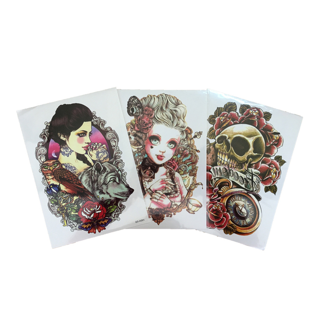 3Pcs 3D Waterproof Temporary Tattoo Stickers Sexy Products Skull Red Rose Fake Temporary Tattoos Body Art Henna Tattoo Paste