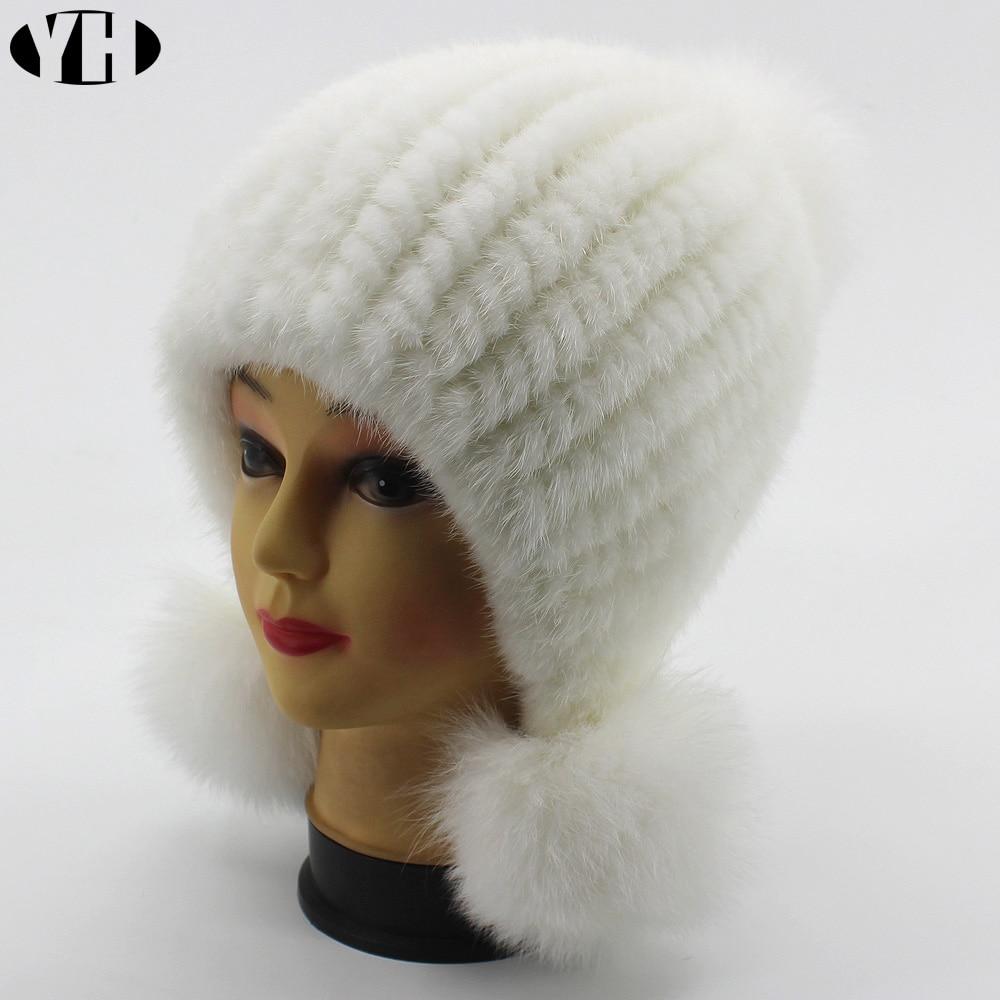 Image 5 - New Fashion Women Real mink Fur Hat Natural mink fur Beanies Fur Caps Fashion lady Elastic Hat Winter Skullies fox fur pom poms-in Women's Skullies & Beanies from Apparel Accessories