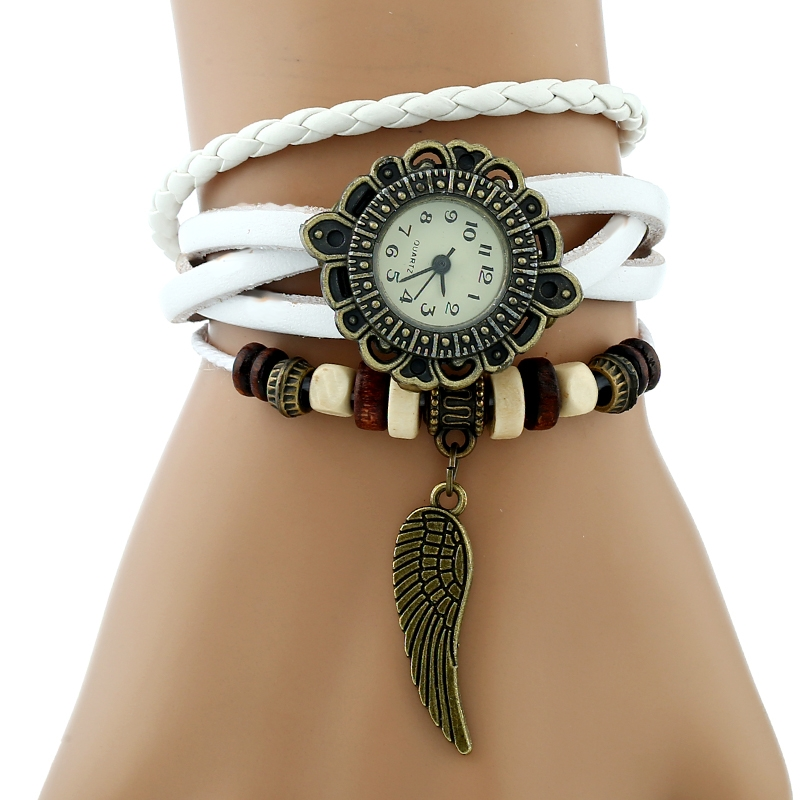 Gnova Platinum TOP Genuine Leather Angel Wing Watch Women Indian Charm Bracelet Wristwatch Indie Band School Student  A886