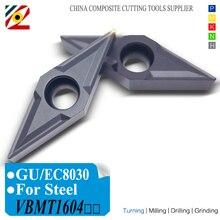Edgev 10 peças cnc torno cortador de carboneto inserções vbmt160404 vbmt160408 vbmt331 vbmt tungstênio ferramentas de gerencio aço p tipo