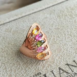 Image 4 - [MeiBaPJ naturalny turmalin kamień moda kolorowy kamień kwiatowy pierścień dla kobiet prawdziwe 925 srebro urok biżuterii