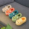 Детские тапочки с динозавром; зимняя теплая Домашняя обувь для спальни и ванной; меховые тапочки для мальчиков и девочек; плюшевая обувь для...