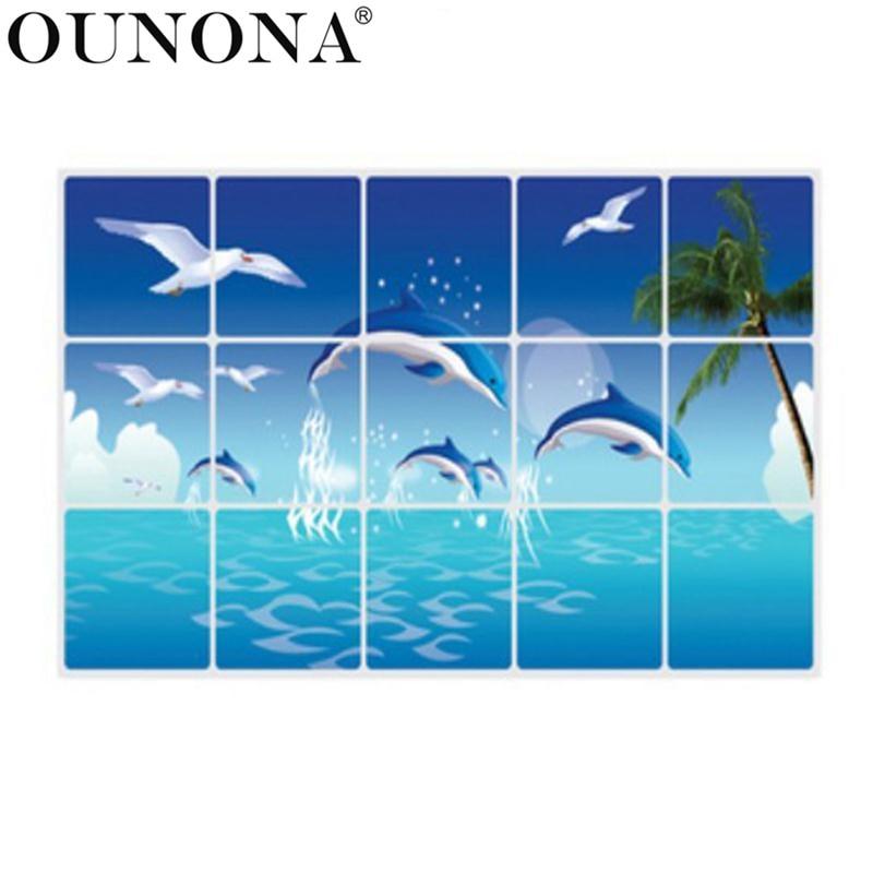 OUNONA dauphin cuisine autocollants Anti-huile pâte imperméable amovible salle de bain Stickers muraux Stickers papier peint décoration de la maison