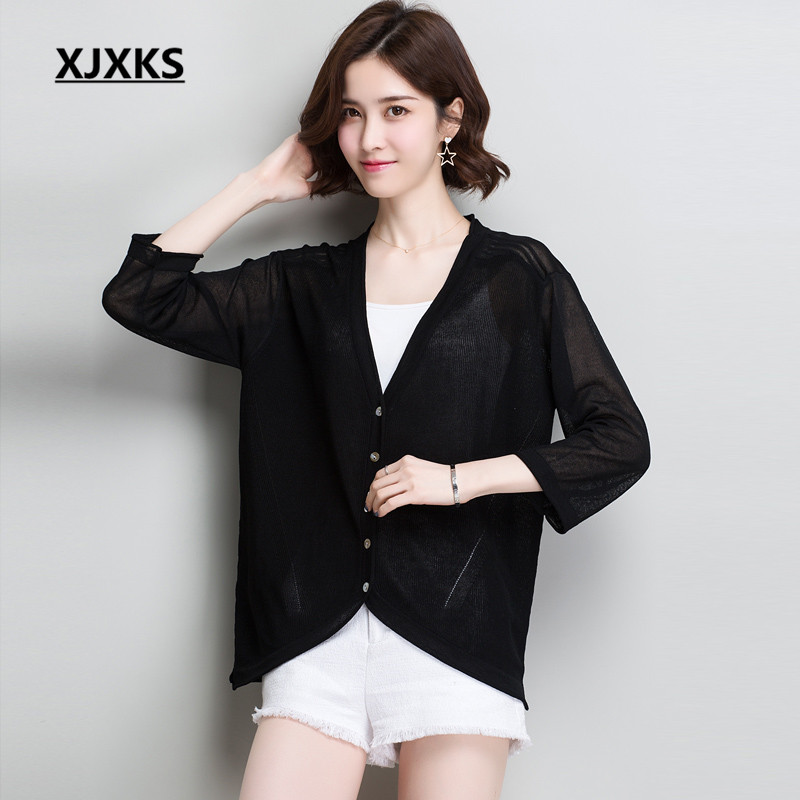 XJXKS 2019 new women's linen knitted thin cardigan comfortable casual women's cardigan summer sun protection clothing