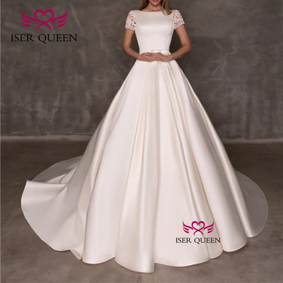 Square Collar Half Sleeves Lustrous Satin Wedding Dresses Ivory Spanish Style Embroidery Bridal Gown Court Train W0533