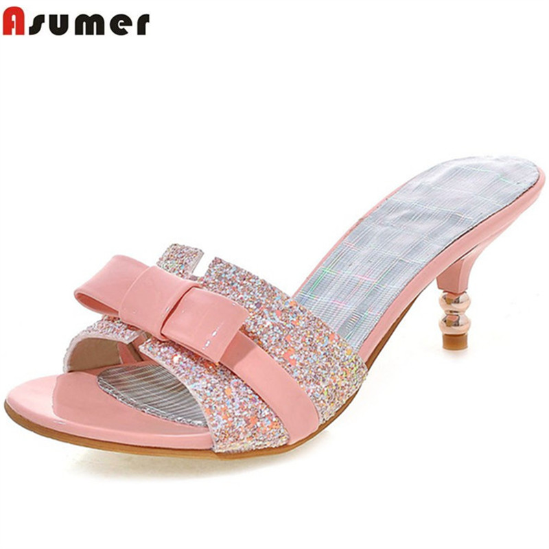Asumer 2018 hot sale new arrive women high heels slipper elegant bowkont summer shoes bling ladies prom shoes