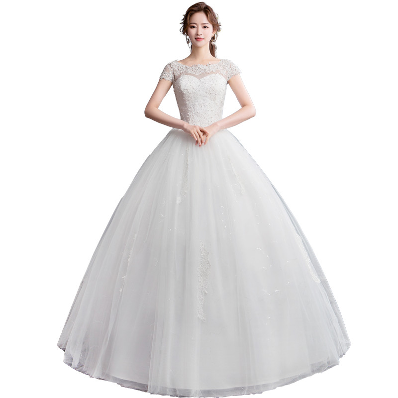 Pearl Wedding Gowns: Holievery Scoop Neck Lace Tulle Ball Gown Wedding Dress