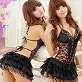 Ropa interior Sexy para mujer Lencería erótica conjunto de ropa interior sin espalda de encaje ropa de juguetes sexuales uniforme + G-string exótico talla 25