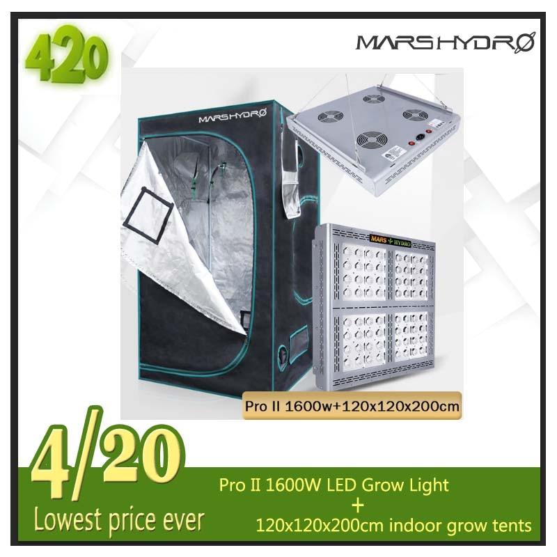 Mars Pro II Epistar 1600W LED Full Spectrum Grow Light And 120x120x200cm Grow Tent Garden Hydroponic Veg Flowers Growing Plants
