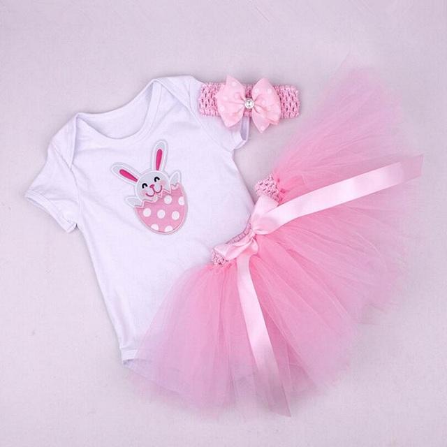 Pascua bebé ropa bebe body dress diadema 3 unids elsa tutú recién nacido establece minnie juegos de ropa de bebé niña vestido infantil