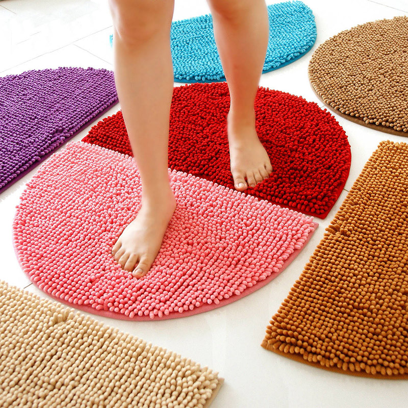 1Pcs Fashion Half Round Shag Microfiber Chenille Non Slip Floor Mat Bedroom  Kitchen Area Rug