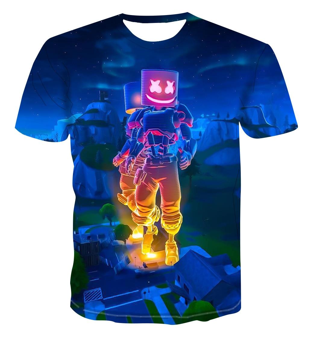 Marshmello DJ Men Short Sleeve T-shirt 3D Pringting Summer Crew Neck Casual Tops