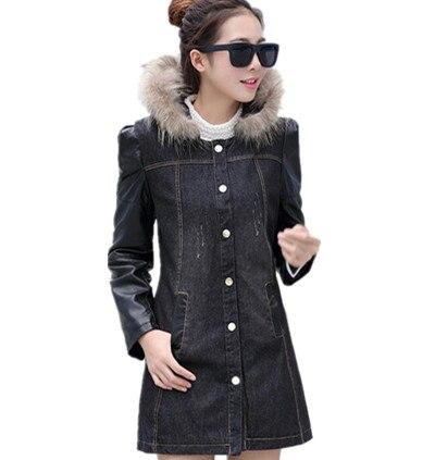 Pardessus Denim La Plus Capuchon En 2016 Noir Manches Mode Manteau À Cuir Tranchée bleu Surdimensionné Femmes De D'hiver Taille Pu rxwrR0qO