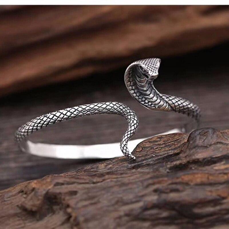 SOQMO 990 Pure Silver Snake Open Bangles for Women Men Gift about 18cm Vintage Animal Bracelet Thai Silver Jewelry SQM086 soqmo men women bracelet 100