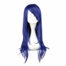 MCOSER Free Shipping Synthetic 65cm Medium Straight Blue Cos