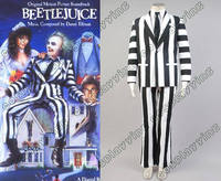 Взрослых Beetlejuice Косплэй костюм Майкл Китон черный и белый костюм Хэллоуин Экипировка