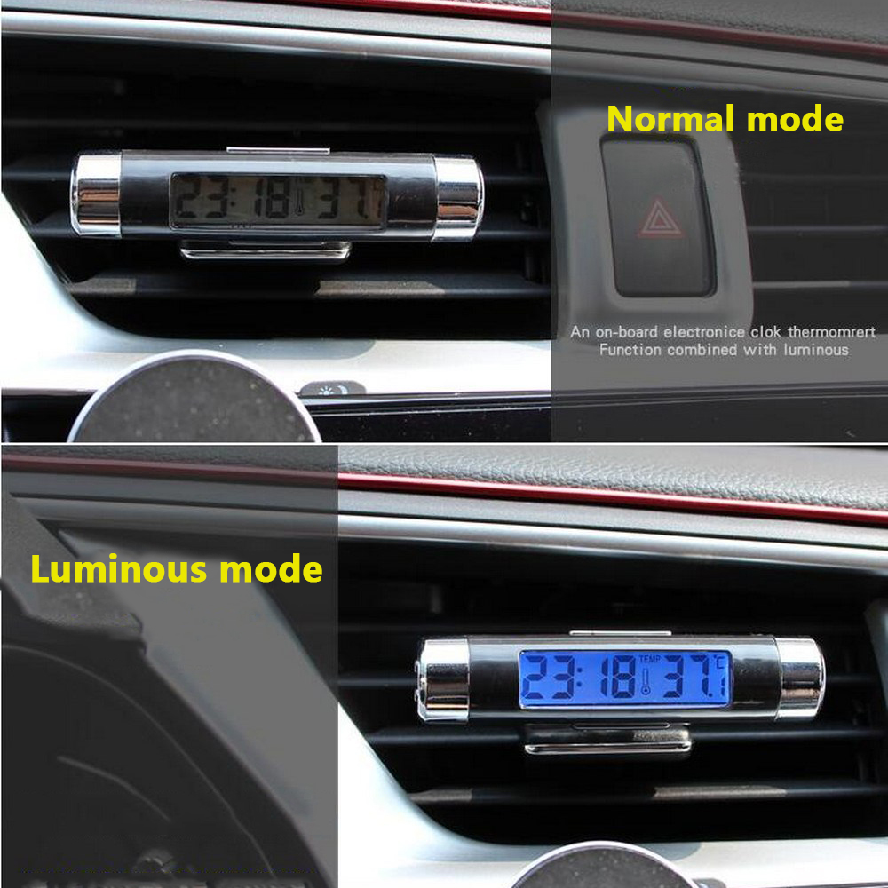 Image 5 - Digital LCD Clock Temperature Display Blue Light Night Vision Air Vent Outlet Clip On With Clip Auto Accessories Car Interiors-in Clocks from Automobiles & Motorcycles