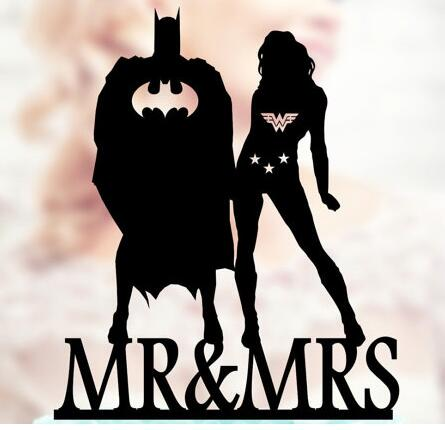 personalized Wonder Woman and Batman wedding birthday cake toppers ...