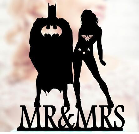 Personalized wonder woman and batman wedding birthday cake for Bachelor party decoration