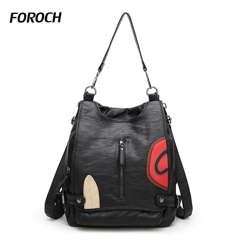 FOROCH Women Backpack Sheepskin Leather School Backpacks For Teenage Girls Oxford Shoulder Bag Large Capacity Travel Bags 157 rucksack school bag laptop backpacks for teenage girls printing backpack travel bag mochila feminina oxford large capacity