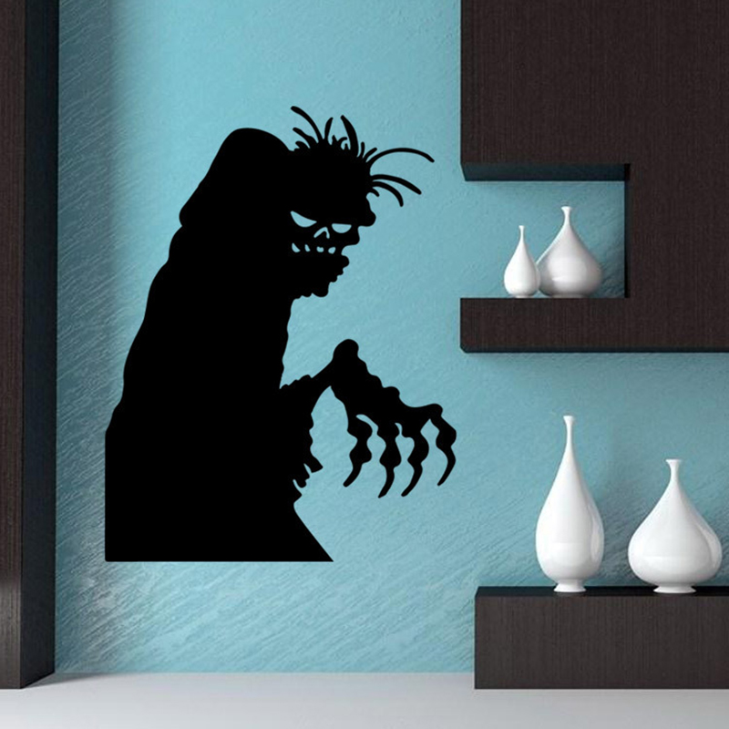 high quality 3d halloween decoration waterproof pvc black horro devil wall stickers home decor props supplies for sitting room - High End Halloween Decorations