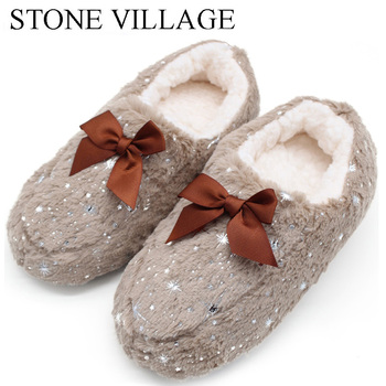 STONE VILLAGE Large Size Bow Snowflake Home Slippers Think Plush Warm Women Slippers Shoes Indoor Slippers Shoes Women