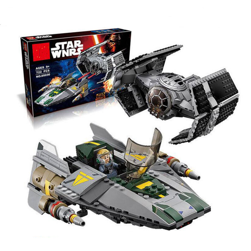 ФОТО Star Wars 05030 Vader Tie Advanced VS A-wing Starfighter 75150 Lepin Building Bricks Compatible Legoed Toy