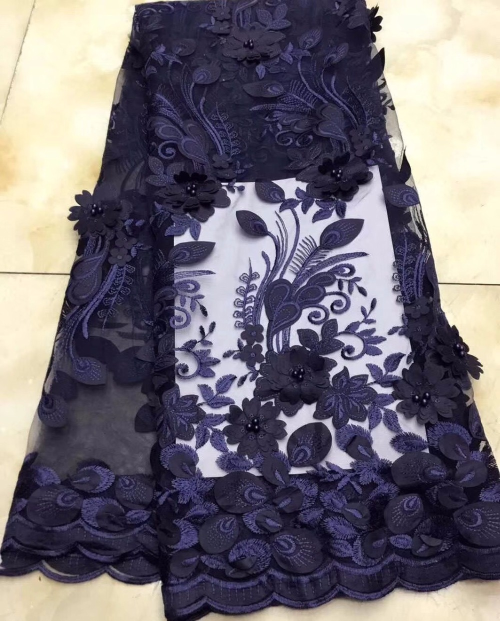 navy blue African Bridal Lace fabric 2018 High Quality Lace Material 3d flower French Lace Applique For Nigerian Dress