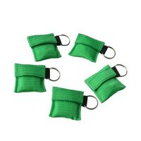 1000Pcs Emergency CPR Resuscitator Mask CPR Face Shield With Key Ring For First Aid Survival Use Rescue Kit With Green Nylon Bag
