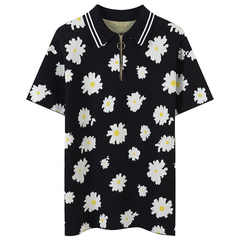 Grande taille fleur Jacquard T-Shirt rayé été élégant t-shirts femmes T-Shirt fermetures éclair pulls tricot hauts