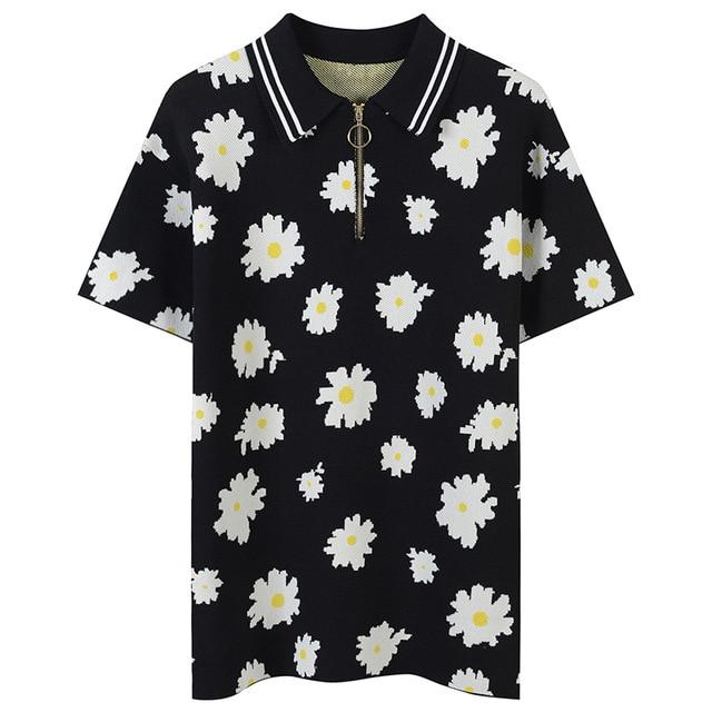 SRUILEE Plus Size Flower Jacquard T-Shirt Striped Summer Elegant Tees Women T-Shirt Zippers Pullovers Knit Tops Runway Jumper