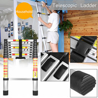 2.6m Foldable Telescopic Aluminium Alloy Ladder Extension Extendable 9 Steps Silver 150kg Lightweight locking Mechanisms Safety