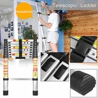 2.6m Foldable Telescopic Aluminium Alloy Ladder Extension Extendable 9 Steps Silver 150kg Lightweight locking Mechanisms Safety