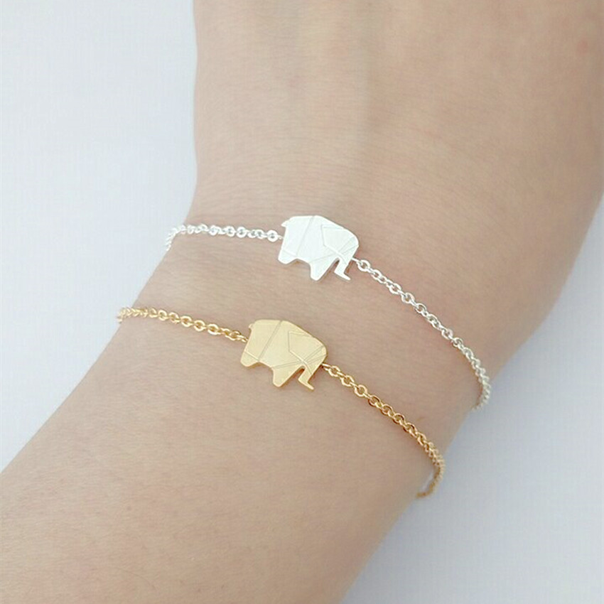 Gold Finished Mint Colored Band Elephant Charm Stretchable Bangle Fashion Jewelry Bracelet For Women Gold Cotton Filled Gift Box for Free