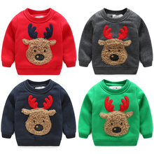 2016 Winter Children'S Clothing Boys Clothing Child Plus Velvet Thickening Deer Baby Sweatshirt Outerwear