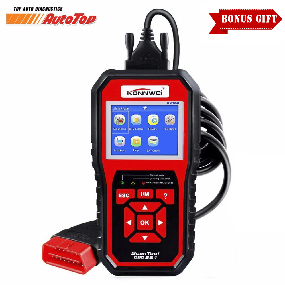 2017 OBD 2 OBD2 Autoscanner Automotive Scanner KONNWEI KW850 Multi-languages Auto Diagnostic Tool Better Than AL519 in Russian newest obdmate om520 lcd obd2 eodb car diagnostic scanner obdii interface om520 obd 2 ii auto diagnostic tool scanner