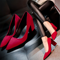 Miss Gao Genxie thick with red pointed shoes 2016 new red wedding shoes women shoes shallow mouth