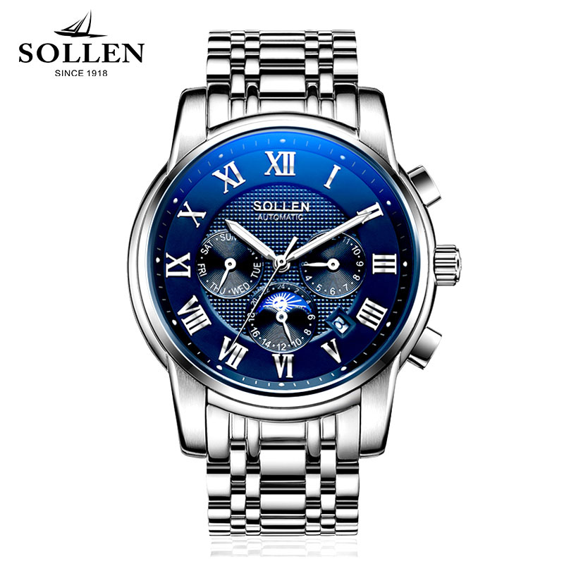2017 Mechanical Watches Luxury Top Brand SOLLEN Men Sport Watch Gold Clock Mens Calendar Automatic Wristwatch With Moon Phase sollen mens automatic mechanical watch diamond gold full steel sapphire waterproof luminous male luxury top brand watches reloj