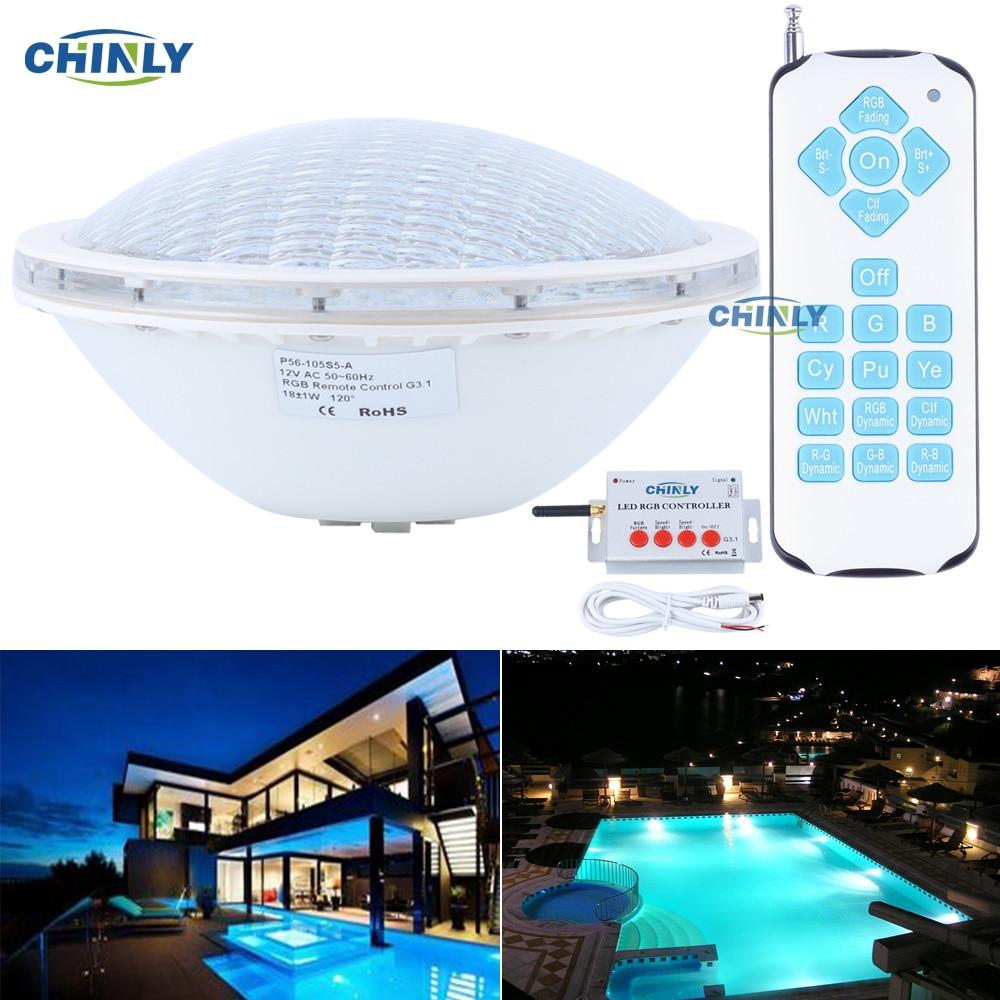 Ac12v Par56 18w Rgb Smd5050 Remote Swimming Led Pool Lights Bulb Underwater Lights Energy Saving