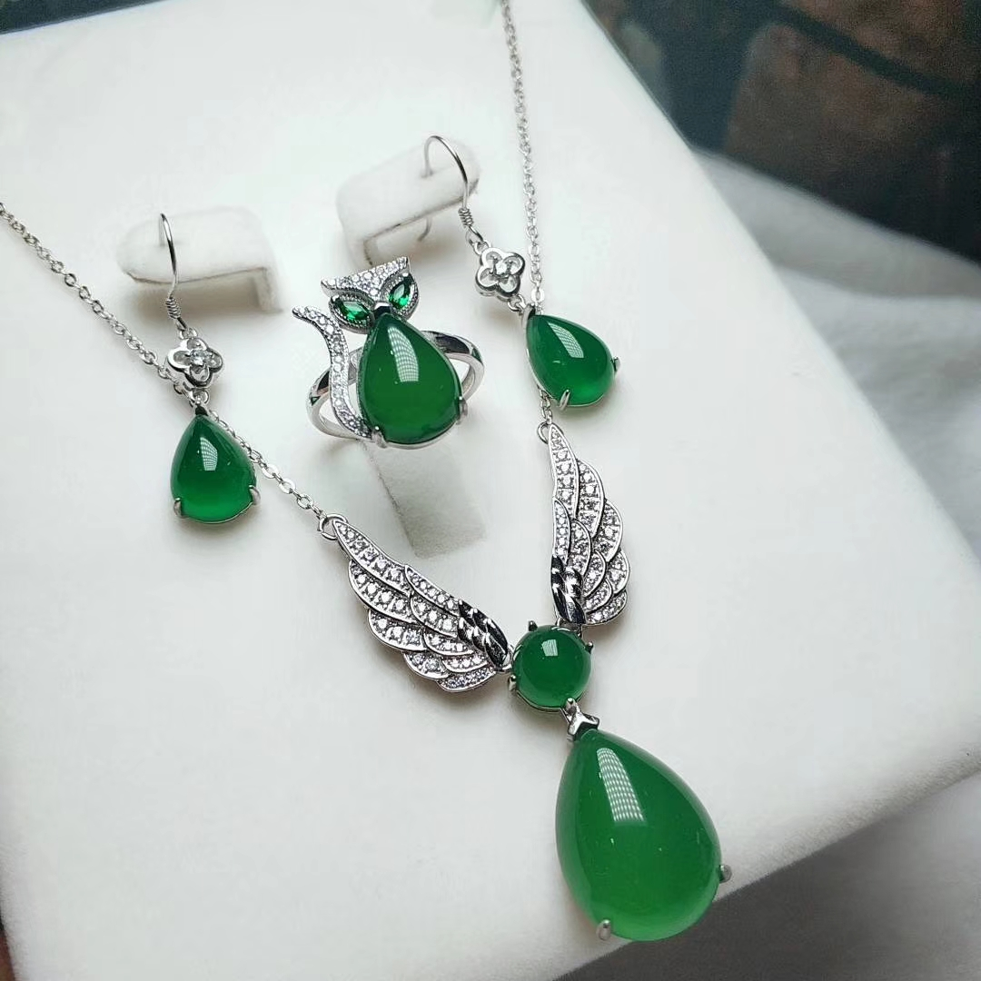 925 Silver Natural Green Jade Women 18K Gold Plated Gemstone Necklace Earrings Ring Set Jewelry Gift 925 silver plated flower necklace