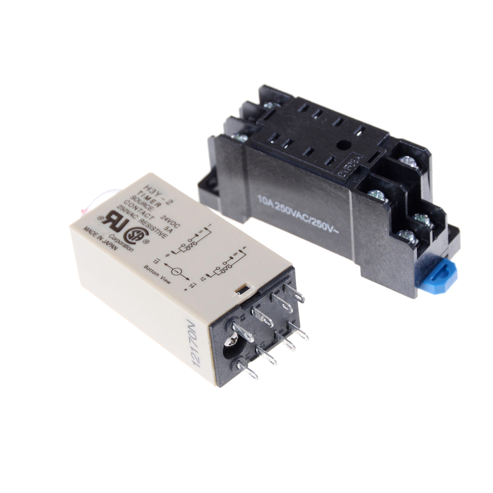 New H3Y-2 AC 220V Delay Timer Time Relay 0 - 60 Minute with Base High Quality Time Relay with Socket 1set