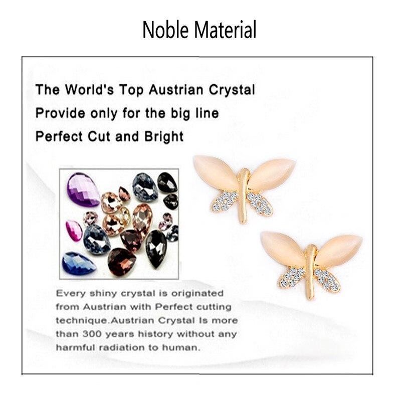 SHUANGR pierre naturelle opale papillon ensembles de bijoux pour les femmes or-couleur chaîne Champagne pendentif collier boucles d'oreilles bijoux femme 1