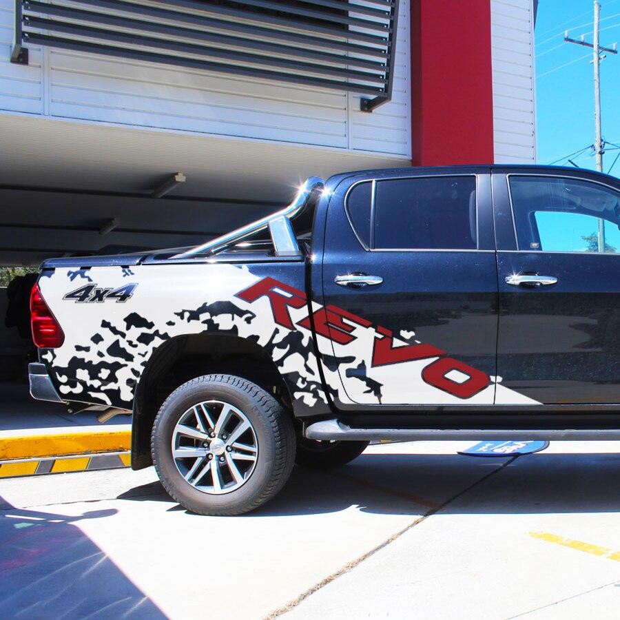 Для hilux revo 2015 на 4 двери настроить автомобиль наклейки 2 шт. грязь 4x4 боковой двери полосы Графический винилы царапинам защиты автомобиля накл