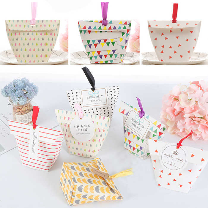 festival supplies candy box bag chocolate paper gift dots grace for Birthday Wedding Party  craft DIY favor baby shower Wh