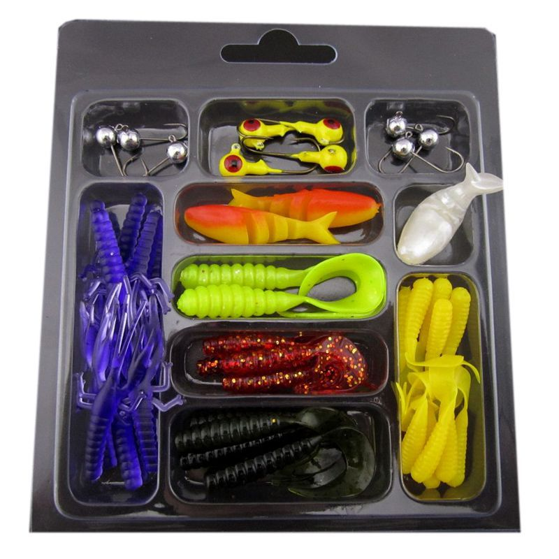 Anmuka Good Quality Bait Fishing Lure Set Include 2 Kinds of Jig Head Hooks and 7 Kinds of Soft Lures